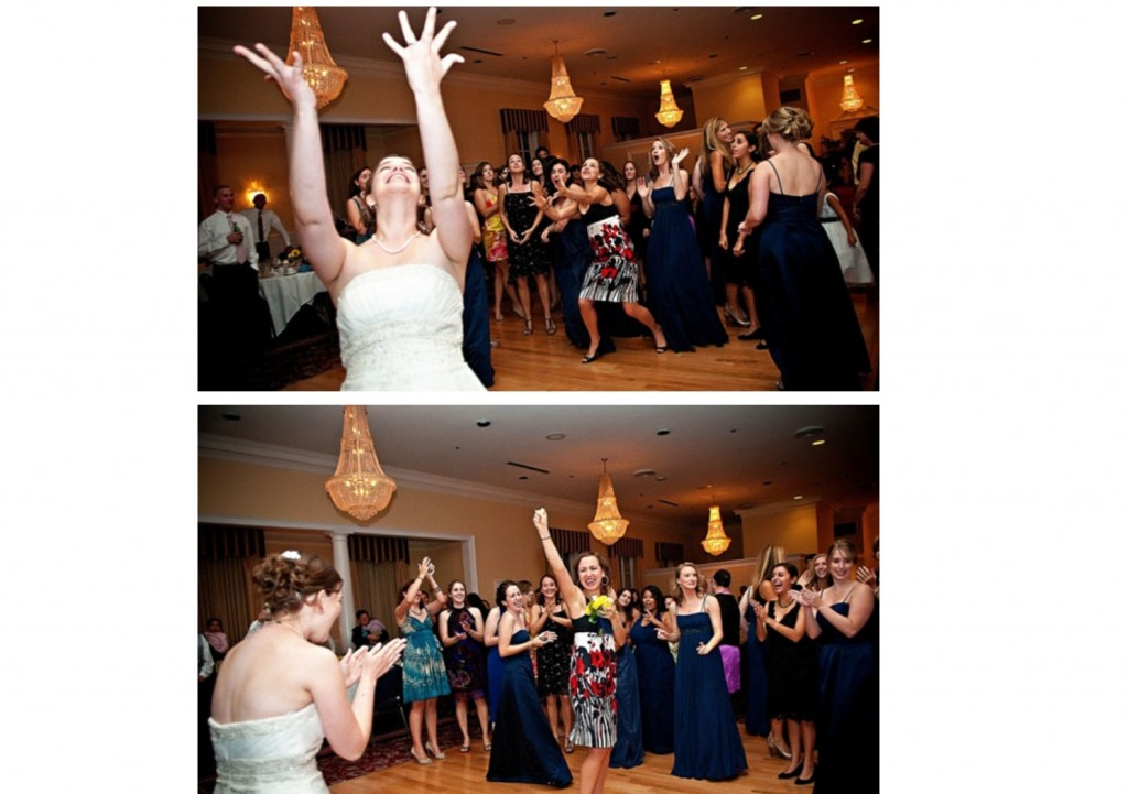 catching the bridal bouquet
