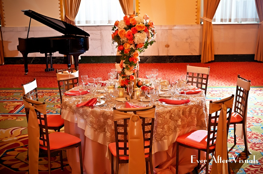 Exquisite coral floral arrangement provided by Bergerons at the Mayflower, designed by Christi Lopez