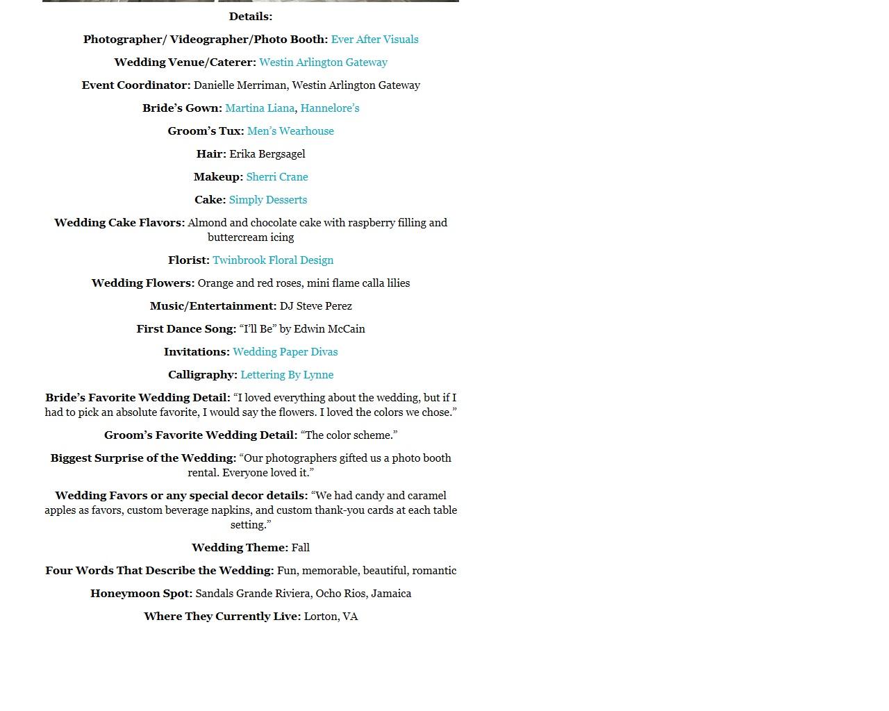 wedding detail list