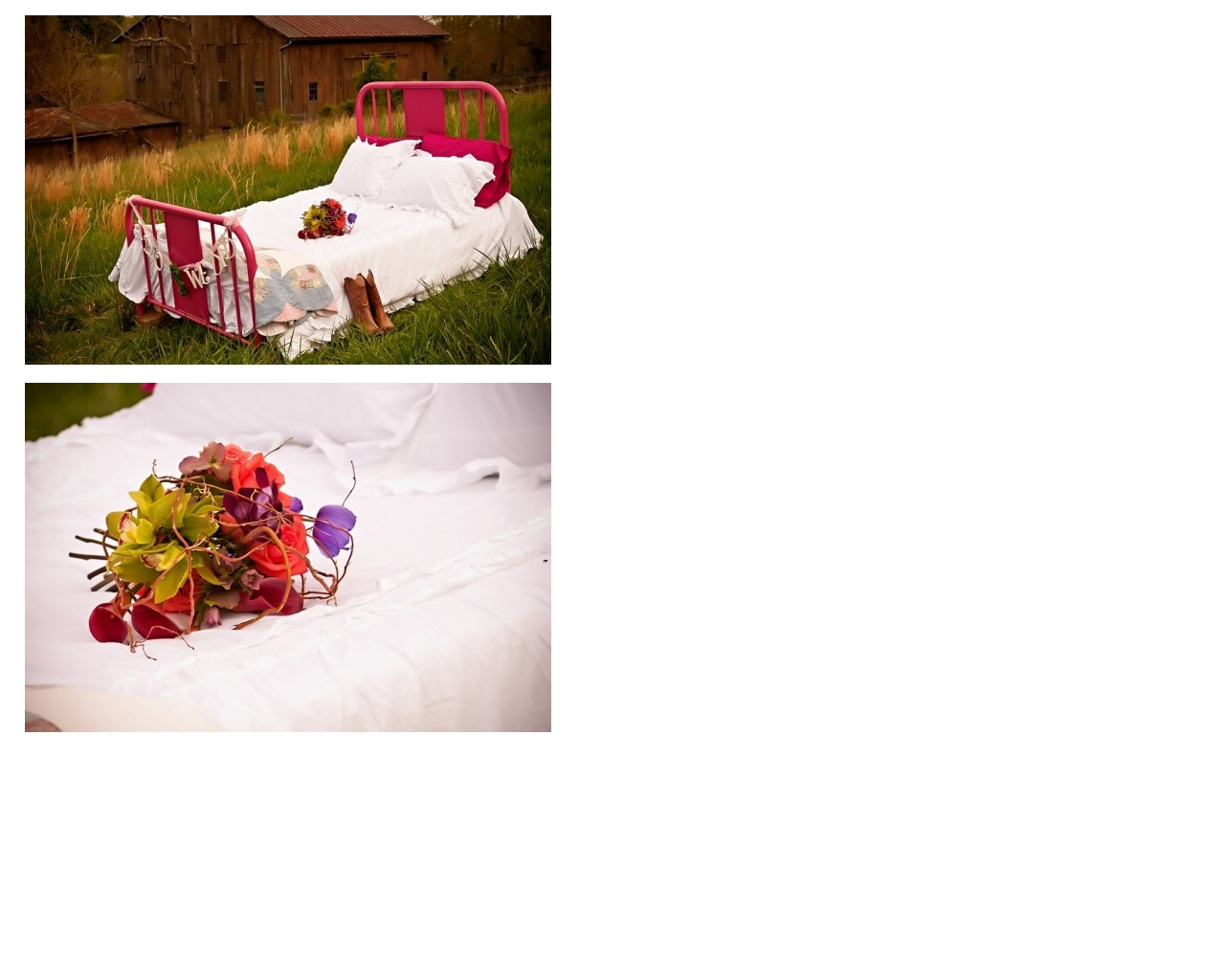 iron bed and flowers