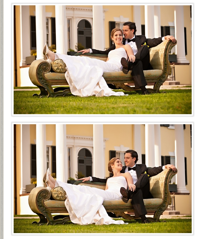bride-and-groom-on-sofa-outdoors