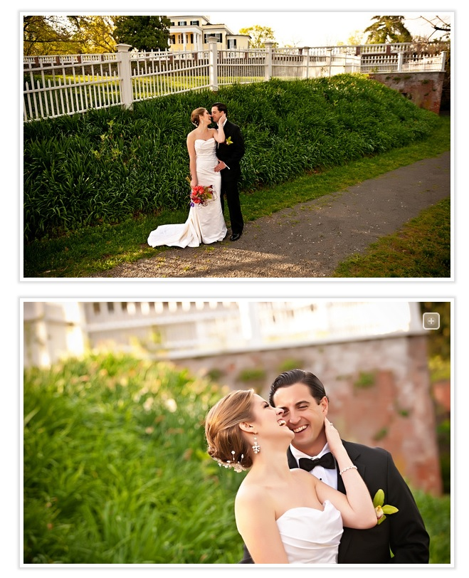 bride-and-groom-with mansion-in-background