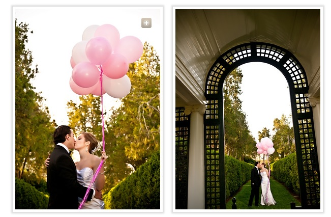 bride-and-groom-kiss-holding-pink-balloons