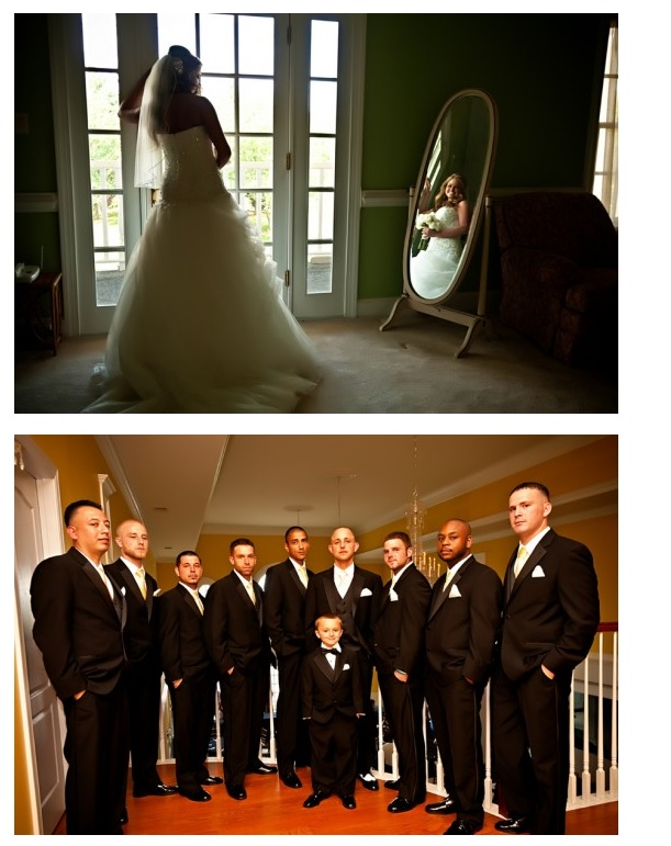 bride's-reflection-in-mirror-and-groomsmen