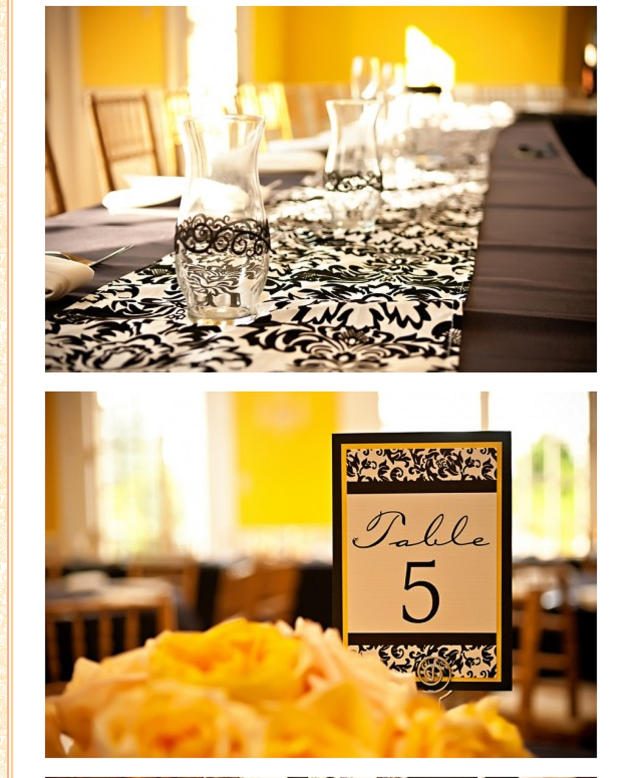 damask vases and table numbers