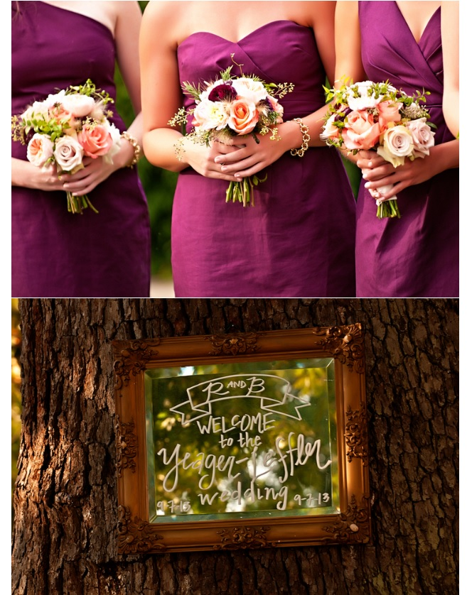 Bridal party and wedding welcome sign