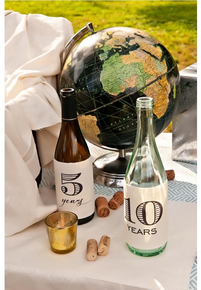 Wedding decor wine bottles