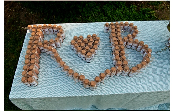 Wedding decor initials spelled with spices