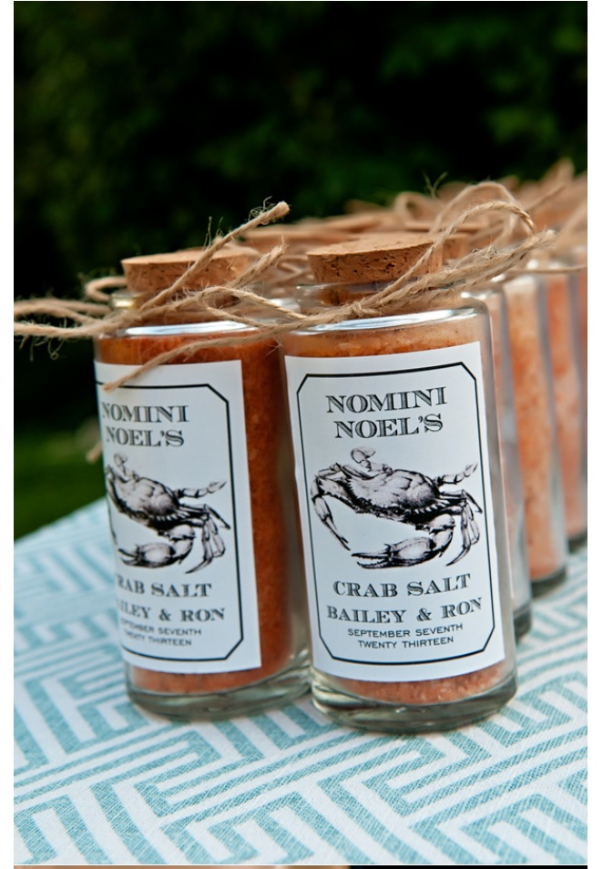 Wedding decor spices with bride and groom name on labels