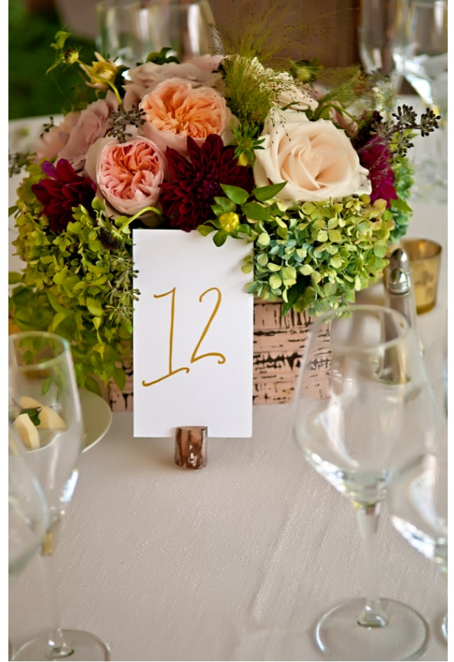 Wedding decor flowers with table number