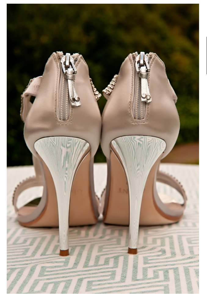 Silver bridal shoes rear view