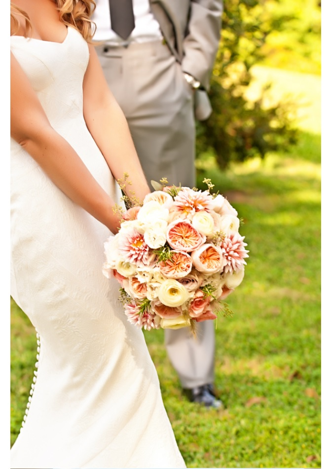 Closeup of bridal bouquet