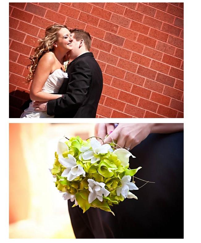 Closeup of bridal bouquet