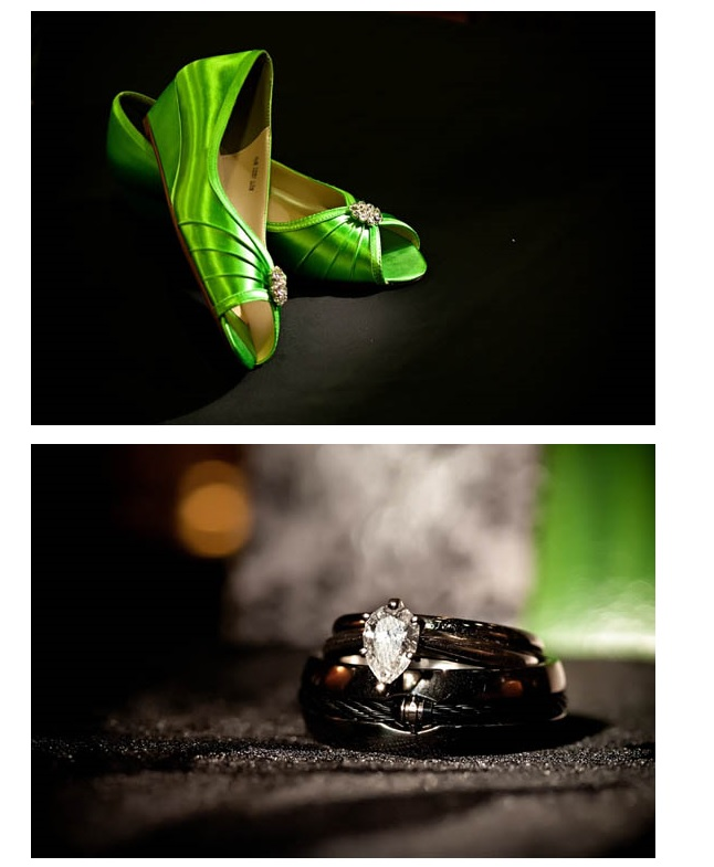 Bride's green shoes and wedding ring