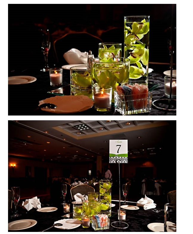 Reception tables and table number