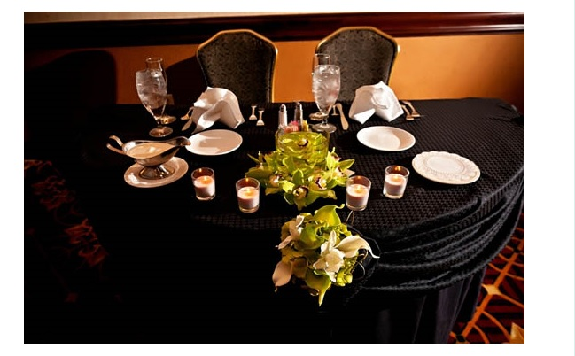 Bride and groom table at reception