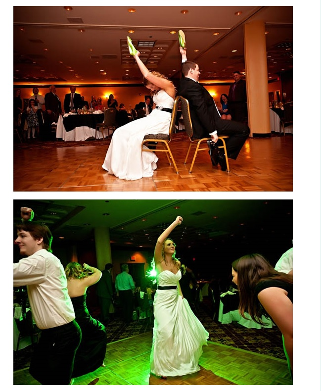 Reception fun with bride and groom