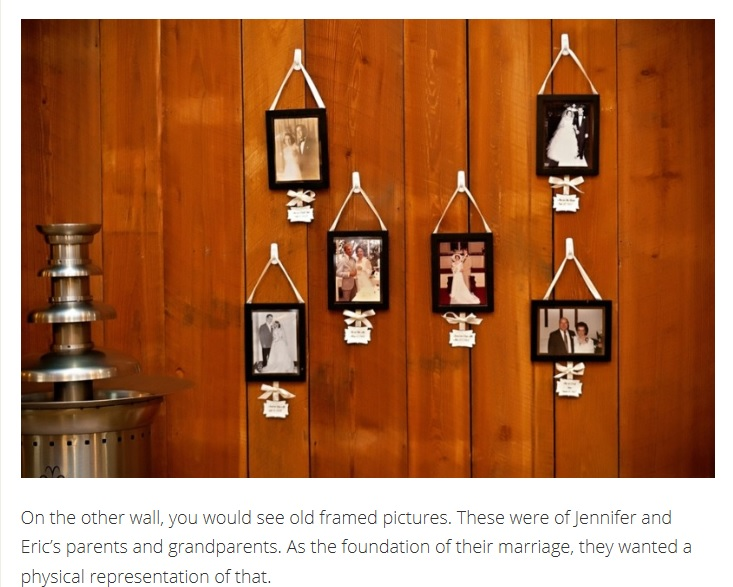 Wedding decor of old framed photos