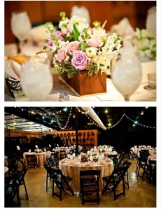 Wedding decor of carriages in barn