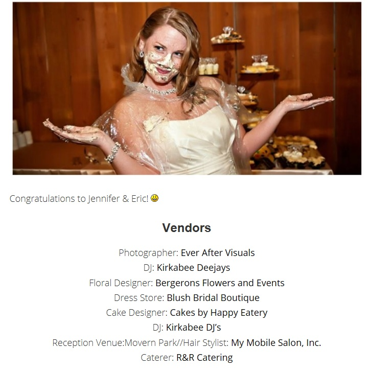 Wedding vendor list