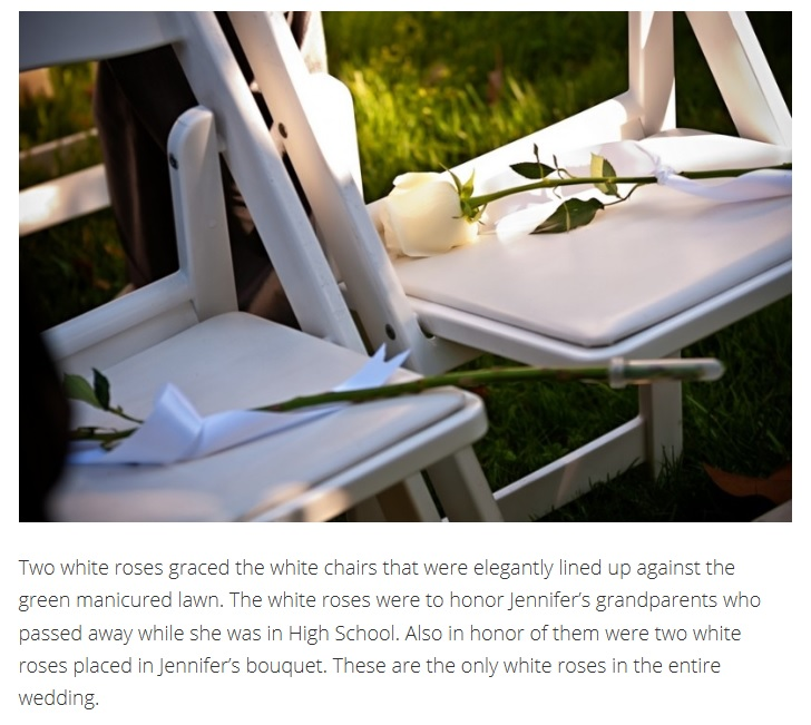 Wedding decor of two white roses