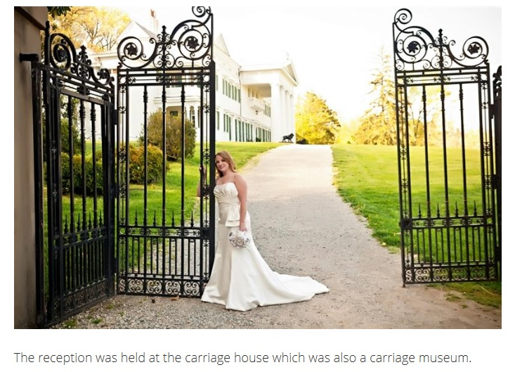Bride at gate of carriage house of Morven Park