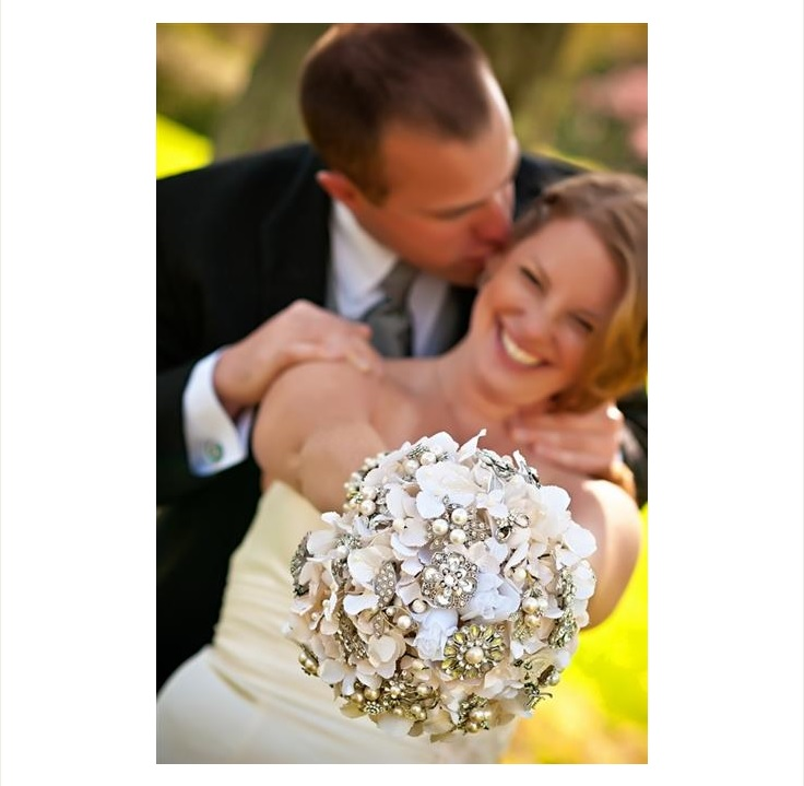 Closeup of white and silver bridal bouquet
