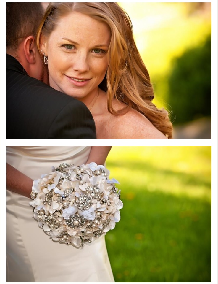Closeup of bride and her white & silver bouquet