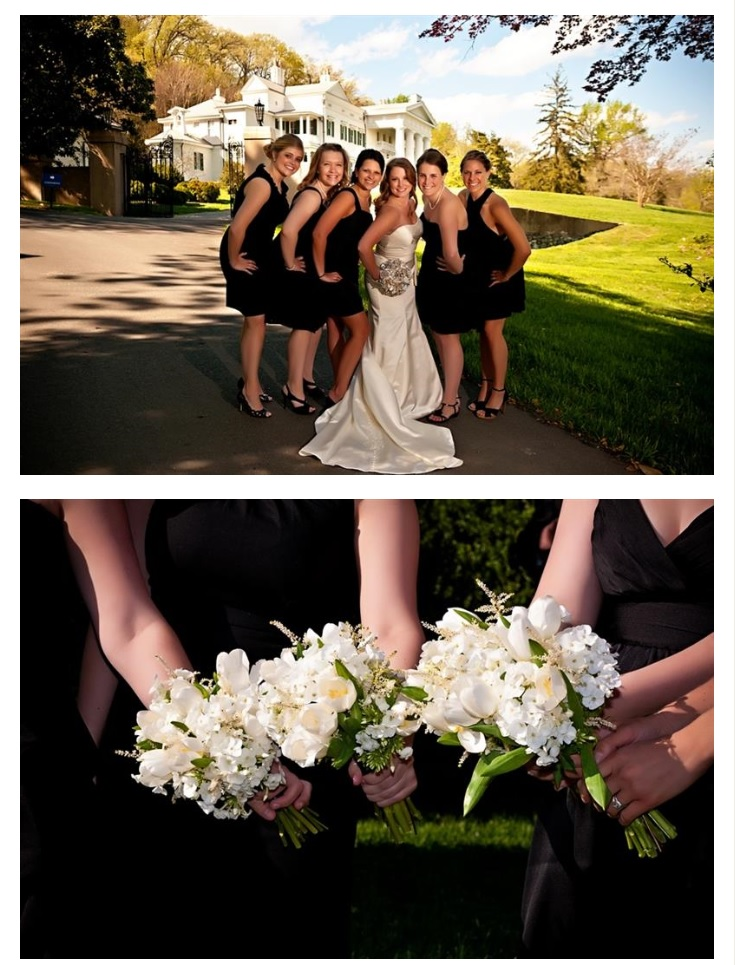 Bridal party and their bouquets