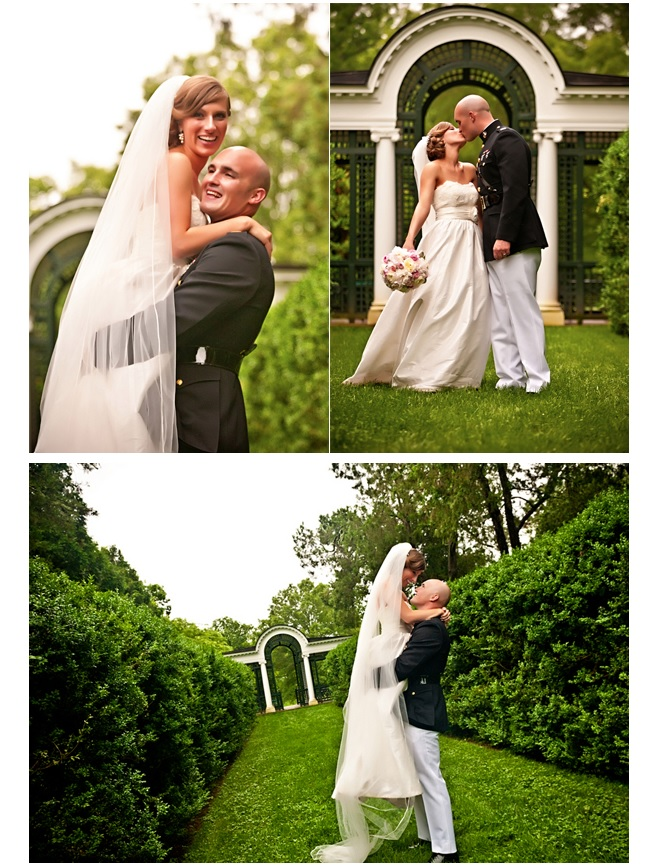 Bride and groom in outdoor pose at Oatlands Plantation