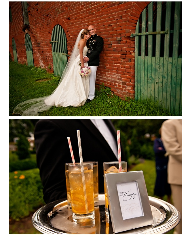 Outdoor at Oatlands of bride and groom in military uniform