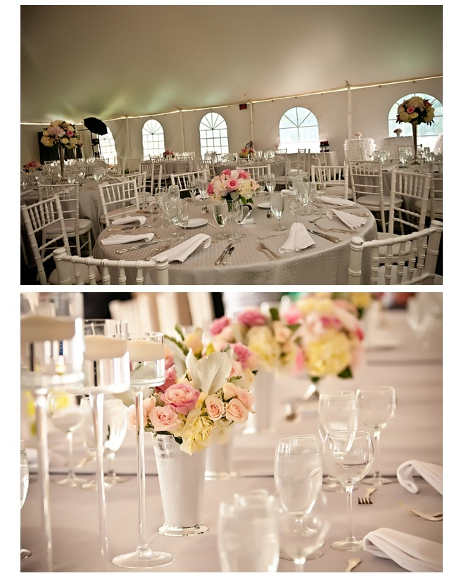 Wedding decor of table settings and centerpieces with pink flowers