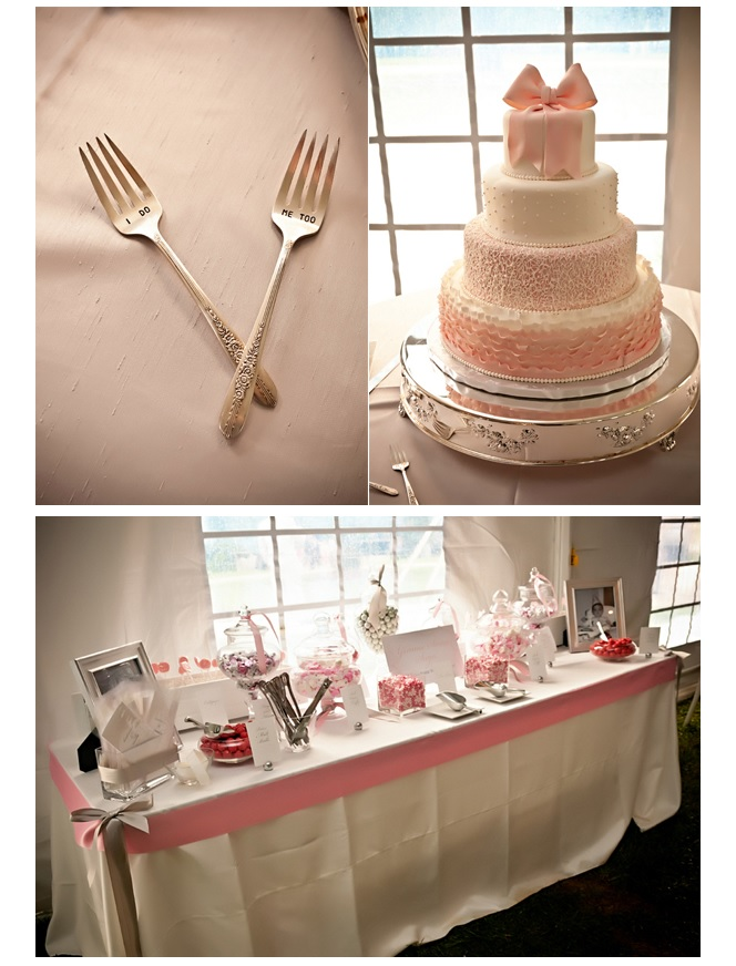 Wedding cake and decor of pink candy and decorations