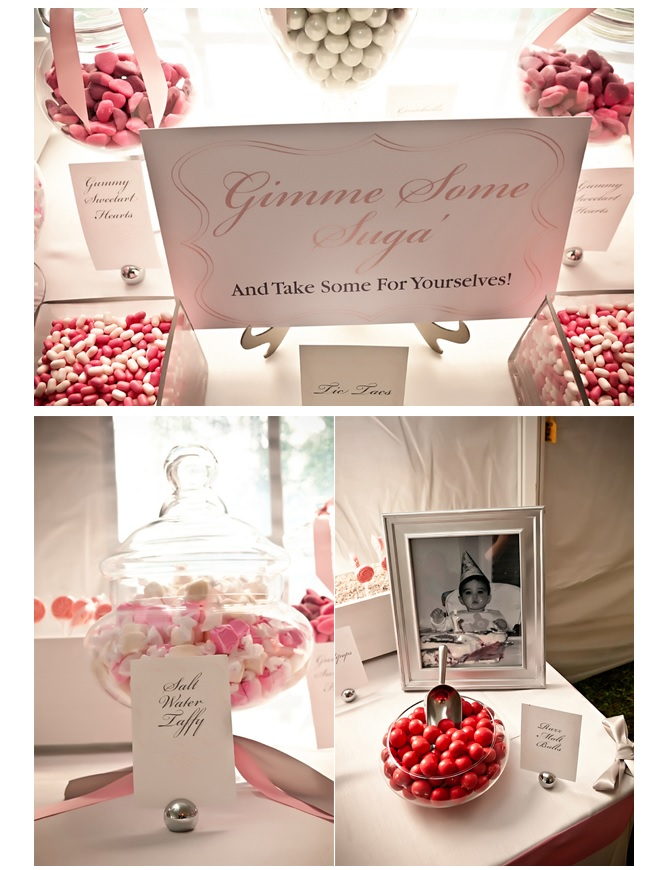 Wedding decor of pink candy
