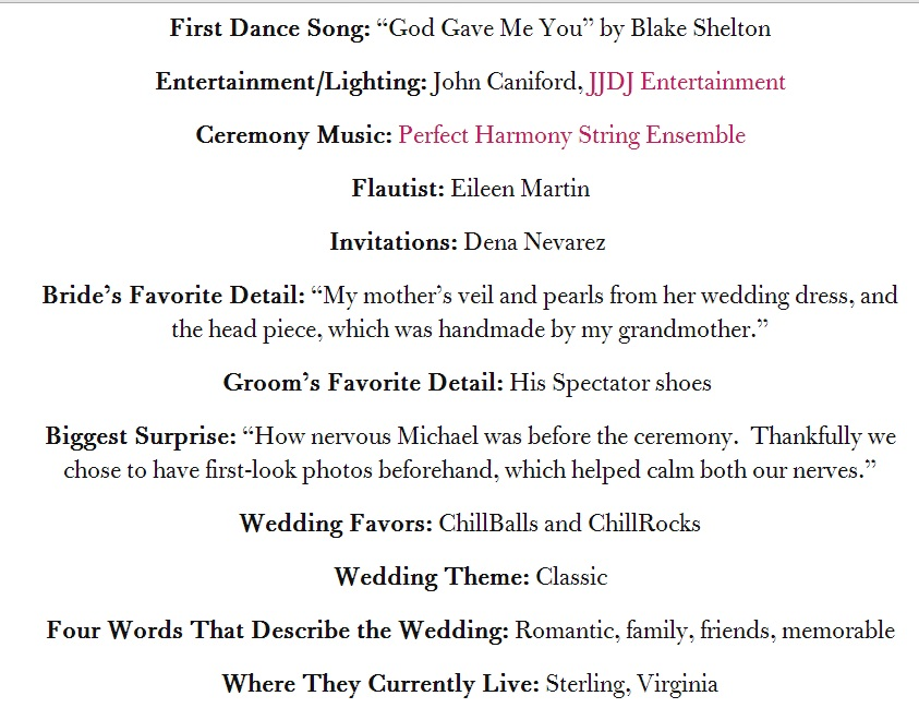 Wedding detail list