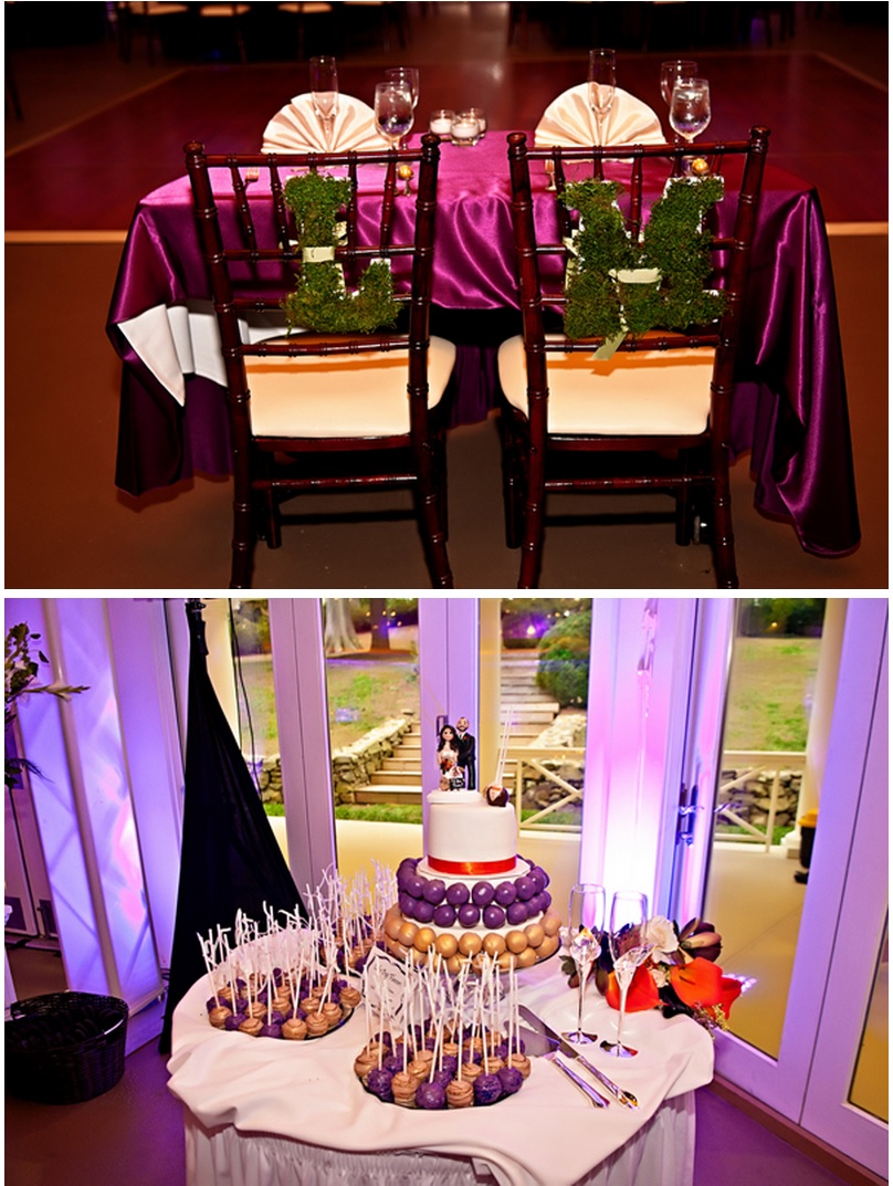 Wedding decor bride and groom table and cake