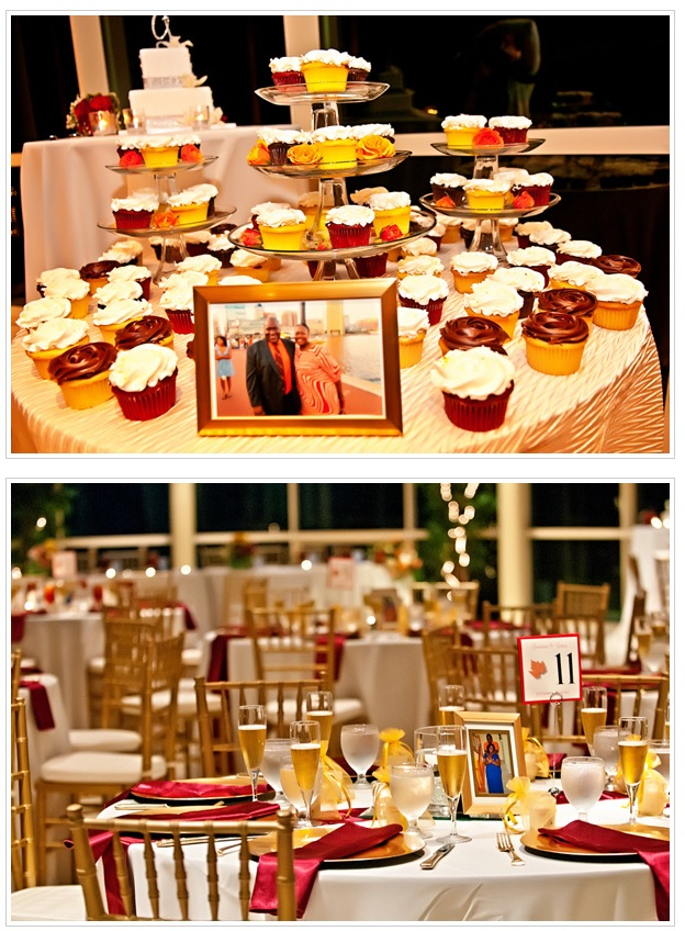 Cupcakes and reception decor of champagne glasses.