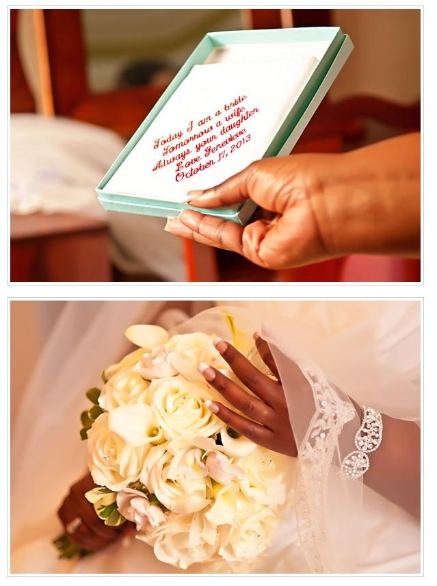Bride's handkerchief and bouquet.