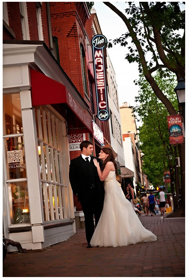 Bride and groom outdoors in Arlington