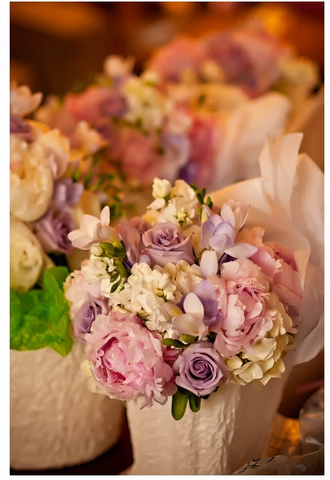 pink, white and purple centerpieces