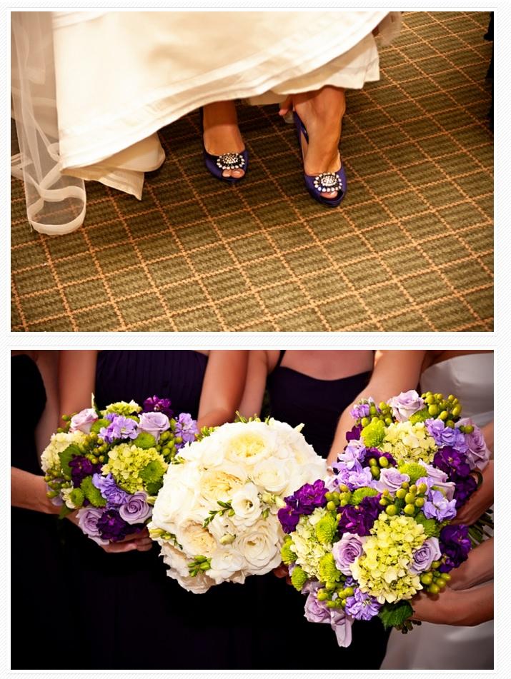 Bridesmaids purple flower bouquets